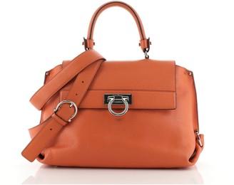 Salvatore Ferragamo Sofia Satchel Pebbled Leather Medium