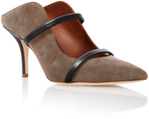 Malone Souliers Maureen Leather-Trimmed Chocolate Suede Mules