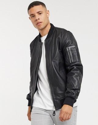 Schott premium leather jacket in black