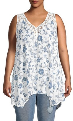 American Rag Plus Floral Lace-Trim Handkerchief Tank Top