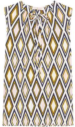 Tory Burch Jess Pussy-bow Printed Silk Crepe De Chine Top