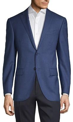 Corneliani Academy-Fit Shepherd's Check Wool Blazer