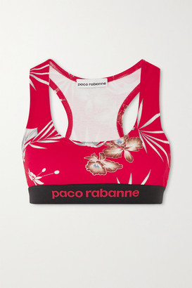 Paco Rabanne Floral-print Stretch-jersey Sports Bra - Red