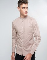 Asos Slim Shirt In Dusty Pink With Stretch And Grandad Collar
