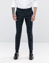 Noose & Monkey Super Skinny Suit Trousers In Tartan