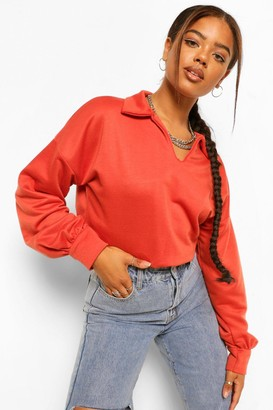 boohoo Polo Cropped Sweatshirt