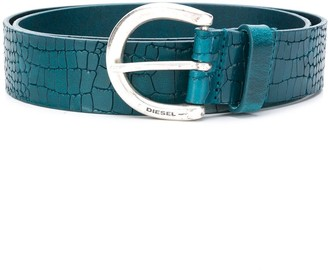 Diesel Croc-Effect Leather Belt