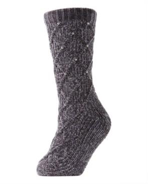 Me Moi Imitation Pearl Lattice Plush Lined Women's Slipper Sock