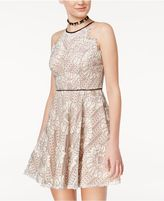 City Studios Juniors' Lace Fit and Flare Dress