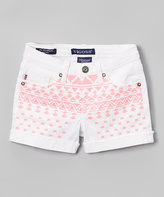 Vigoss White Geometric Cuffed Denim Shorts - Tween