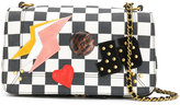 Jerome Dreyfuss checkerboard bag with patchwork appliqué