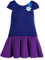 Zoë Ltd Cap-Sleeve Colorblock Scuba Dress, Royal/Purple, Size 2-6