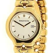 Tiffany & Co. Tesoro 18K Yellow Gold White Face 34mm Mens Watch