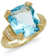 Judith Ripka Diamonds & Cushion-Cut Blue Topaz 18K Yellow Gold Ring