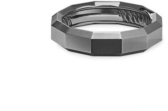 David Yurman Men's Faceted Gray Titanium Band Ring
