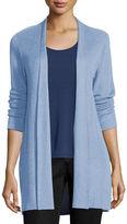 Eileen Fisher Sleek Ribbed Long Cardigan, Morning Glory, Plus Size