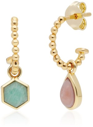Gemondo Mismatched Amazonite & Rhodrochronsite Hoops In Yellow Gold Plated Silver
