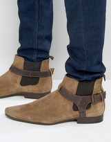 Asos Chelsea Boots In Stone Suede With Leather Stirrup Strap