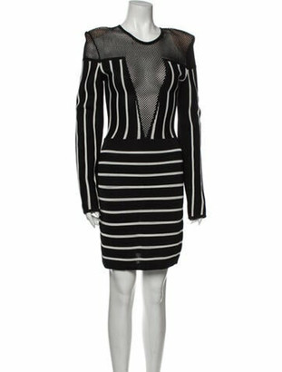 Balmain Striped Knee-Length Dress w/ Tags Black