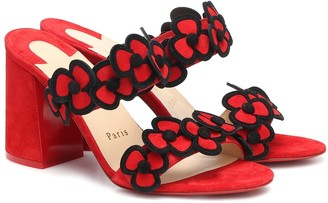 Christian Louboutin Tres Pansy 85 suede sandals