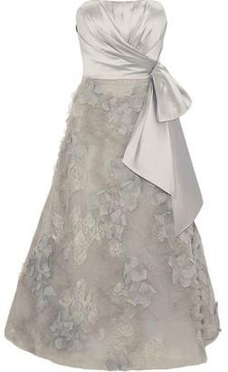 Marchesa Strapless Satin-paneled Embellished Tulle And Lace Midi Dress