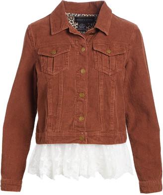 Live A Little Women's Non-Denim Casual Jackets RUST - Rust Lace-Hem Corduroy Jacket - Women