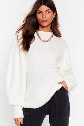 Nasty Gal Womens Think About Knit Relaxed Balloon Sleeve Sweater - White