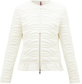 Moncler Ambre Ruffled Quilted-down Jacket - Womens - Ivory