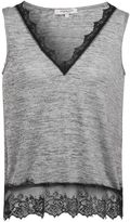 Morgan Heathered Knit And Lace Tank Top