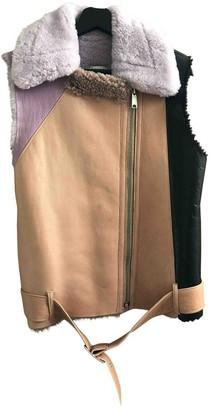BEIGE Onar Shearling Leather Jacket for Women