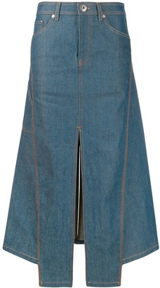Lanvin Slit Asymmetric Denim Midi Skirt