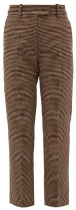 Racil Oscar Houndstooth Wool Cigarette Trousers - Brown