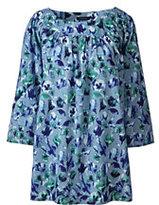 Classic Women's Plus Size 3/4-sleeve Balletneck Tunic-Cajun Blue Floral