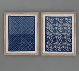 Pottery Barn Framed Blue Textile Art