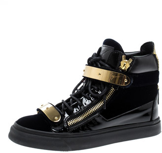 Giuseppe Zanotti Navy Blue/Black Velvet and Leather Coby High Top Sneakers Size 36