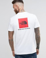 The North Face T-shirt With Red Box Logo In White