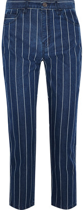 Current/Elliott The Vintage Cropped Striped High-rise Slim-leg Jeans