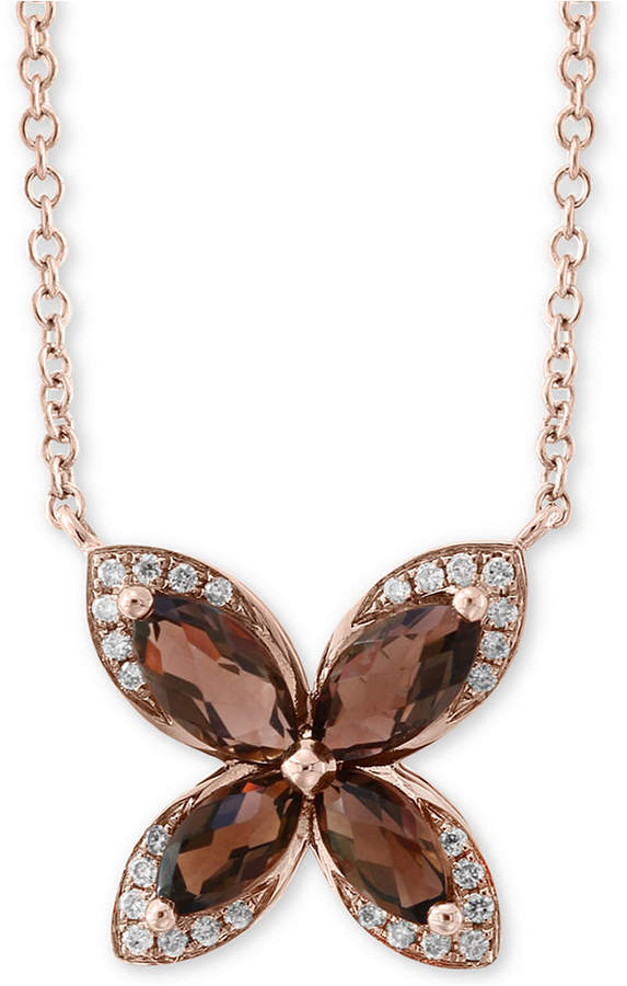 "Effy Smoky Quartz (1-1/10 ct. t.w.) & Diamond (1/10 ct. t.w.) 18"" Pendant Necklace in 14k Rose Gold"