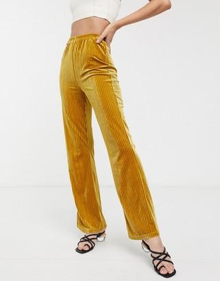 Glamorous wide leg trousers in velvet rib-Yellow
