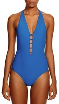 Tory Burch Solid Plunging One Piece Swimsuit