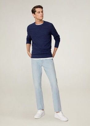 MANGO MAN - Organic cotton flecked sweater beige - S - Men