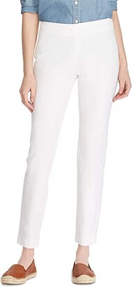 Lauren Ralph Lauren Petite Stretch Twill Skinny Crop Pants (White) Women's Casual Pants