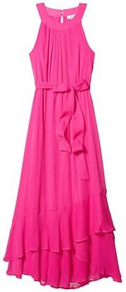 Calvin Klein Belted Halter Neck Chiffon Dress with Ruffle Hem (Shocking Pink) Women's Dress