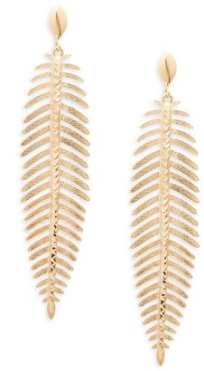 Saks Fifth Avenue Made In Italy 14K Yellow Gold Leaf Drop Earrings