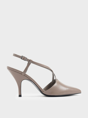 Charles & Keith Croc-Effect Criss Cross Strappy Pointed Toe Heels