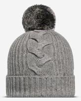 N.Peal Fur Bobble Cable Cashmere Hat
