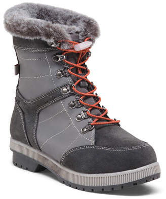 Wide Leather And Suede Lace Up Winter Boots
