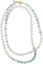 Farra Round Freshwater Pearls With Aquamarines Long Necklace