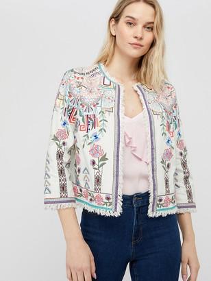 Monsoon El Organic Cotton Embroidered Jacket - Ivory