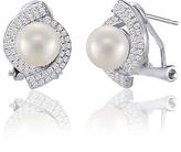 Bliss Pearl & Cubic Zirconia Oval Stud Earrings